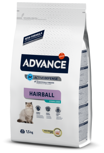 Nourriture Sterilized Hairball Dinde et Orge 10 KG Advance