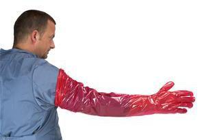 Examination gloves, red, 95 cm, 100 uniades Kruuse