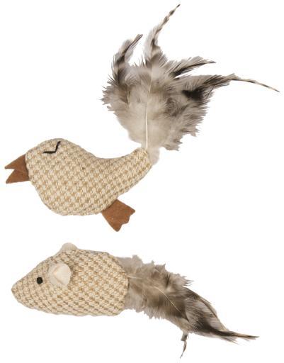 Jouet Chat Naturel Oiseau/Souris Jute et Plumes 14 X 4 Cm Duvo+