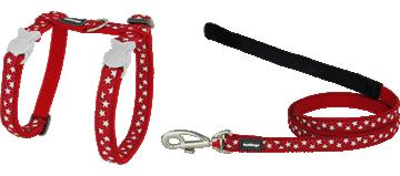 Poitrail et Laisse pour Chat Style Étoile Blanche et Rouge Red Dingo