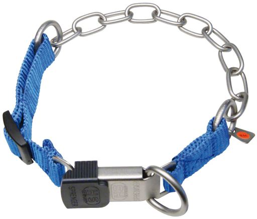 Stainless Steel and Nylon Adjustable Collar with Blue Look Lock