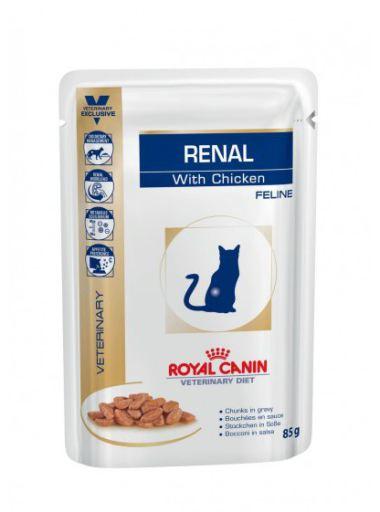 Nourriture Humide Renal Feline avec Poulet 12x85 gr Royal Canin