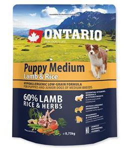 Puppy Medium Agneau et Riz 750 GR Ontario