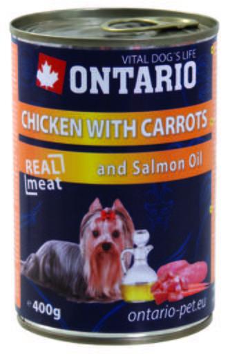 Chien de poulet / carottes / Huile de saumon 400 GR Ontario