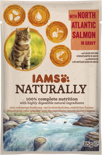 IAMS Naturally Adult Cat with North Atlantic Salmon in Gravy 85g