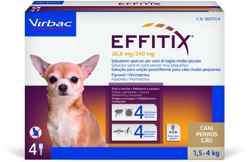 Effitix Spot on Antiparasitaire et Moustiques pour Chiens 1,5 à 4 Kg