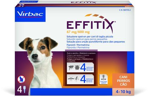 Effitix Spot on Antiparasitaire et Moustiques pour Chiens 4 à 10 Kg