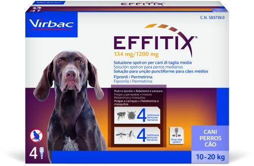 Effitix Spot on Antiparasitaire et Moustique pour Chiens 10 à 20 Kg