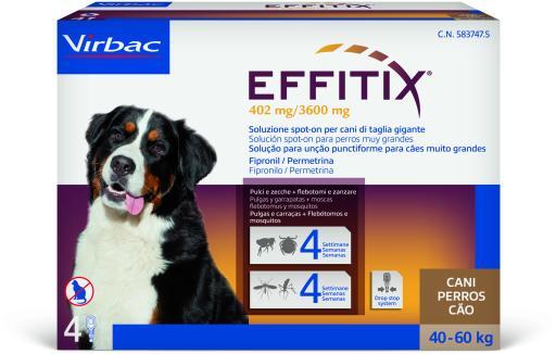 Effitix Spot on Antiparasitaire et Moustiques pour Chiens 40 à 60 Kg