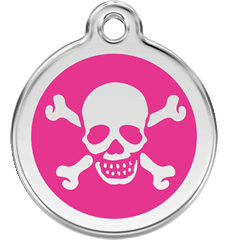 Enamel Tag Skull & Cross Bones Hot Pink (1XBHP)