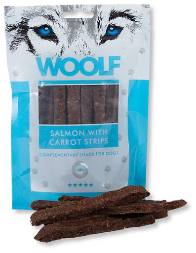 Snack pour Chiens de Saumon avec Lanières de Carotte 100 gr Woolf