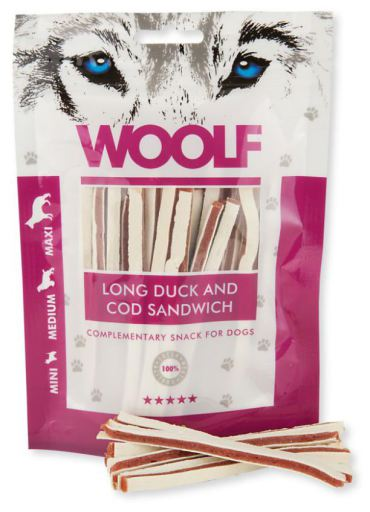 Snack pour Chiens de Canard avec Sandwich de Morue 100 gr Woolf
