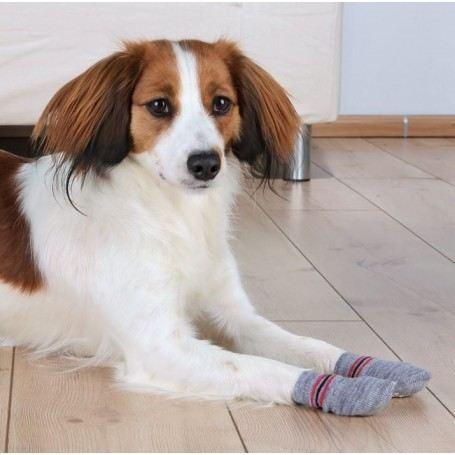 Chaussettes pour chien, antidérapantes, S/ Xl 2 Pcs Gris Trixie