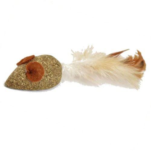 Souris herbe à chat avec plume 5 cm Nayeco