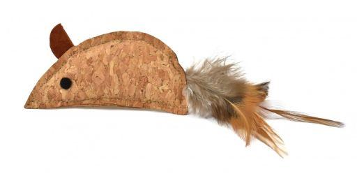 Souris en liège avec plume 9 cm Nayeco