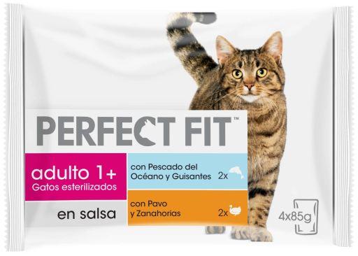 Nourriture humide pour poissons stérilisés et chats de dinde 4x85 gr