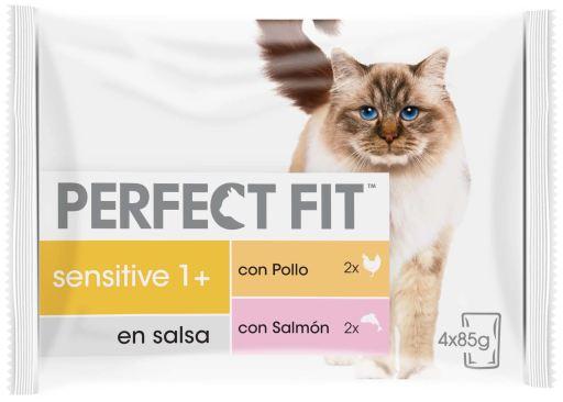 Nourriture humide sensible chats stérilisés au poulet et au saumon