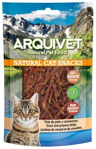 Snack pour chat : lamelles de canard et de crevettes 50 GR Arquivet