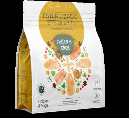Aliments secs pour chats stérilisés Poulet 400 GR Natura Diet