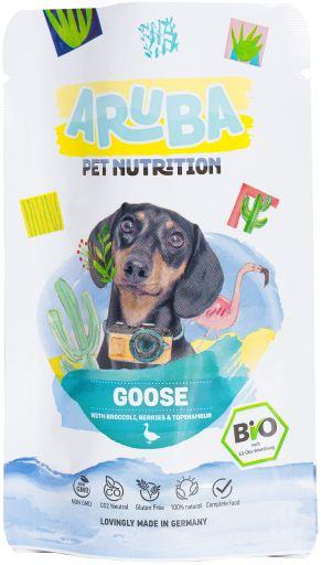 chien poche d'oie organique, le brocoli, les baies et topinambour