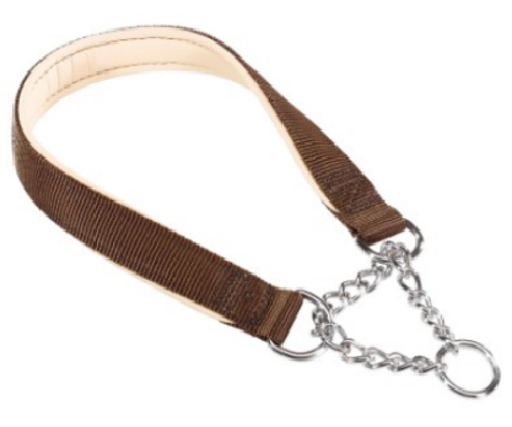Collier en nylon rembourré Daytona et collier avec chaîne métal 65cm
